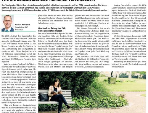Wie die Eulachstadt ZKB-Millionen verschleudert, Zürcher Bote vom 12. Februar 2021