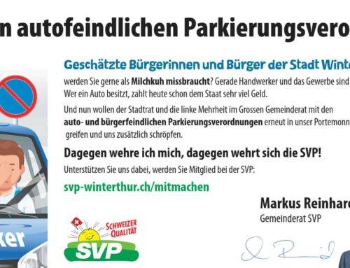 """Votum zu """"2019.130 Umsetzung des Konzepts Parkraumplanung und Anpassung relevanter Erlasse: Erlass von drei neuen Verordnungen zur Parkplatzbewirtschaftung"""""""
